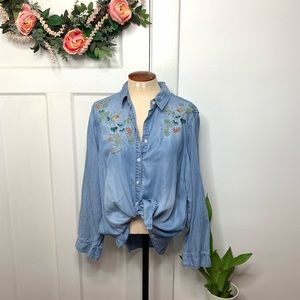 Chico's Button Down Floral Embroidered Top
